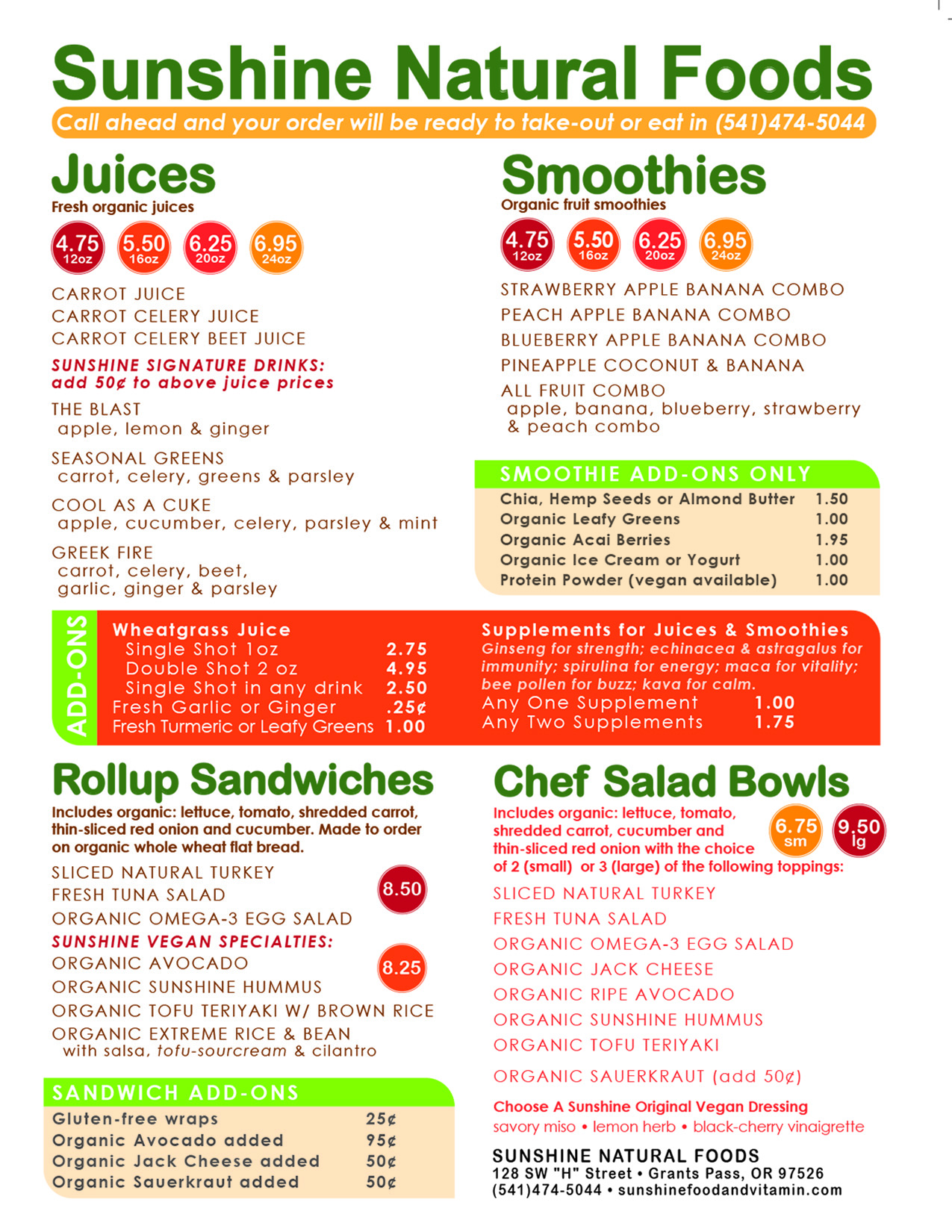 Menu - Sunshine Foods